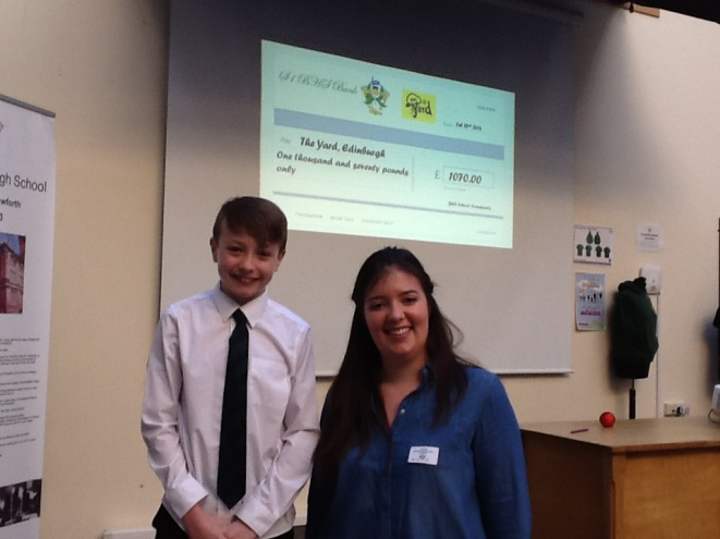 The Yard's Fundraising Officer, Hannah and a Boroughmuir student proudly celebrate a fantastic sponsored walk.